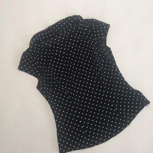 Black + White polka dot sheer blouse